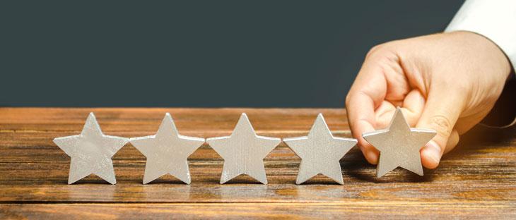 five stars on a desk
